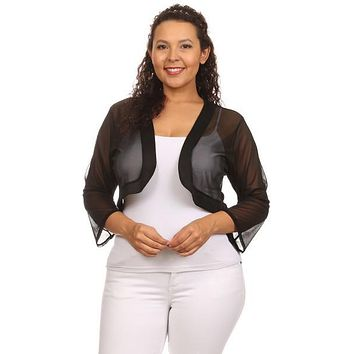 Black Sheer Bolero Chiffon 3/4 Length Black Chiffon Bolero Jacket