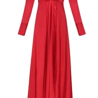 Not Guilty Satin Long Sleeve Cold Shoulder Plunge V Neck Double Slit Maxi Dress - 2 Colors Available - Sold Out