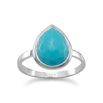Sterling Silver Faceted Pear Turquoise Stackable Ring
