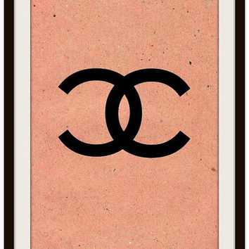 Chanel logo, vintage, beige, printable, sign, wall art, home decor, poster decals, french, girly room decorative art, coco brand, mimimal