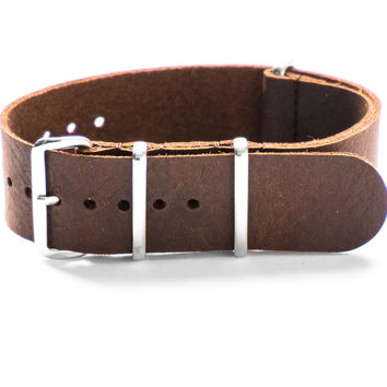 LEATHER NATO STRAP DARK BROWN VINTAGE