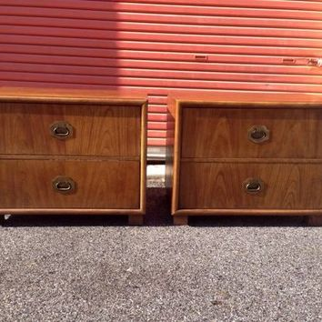 Pair Dixie Mid Century Campaign Style Nightstands
