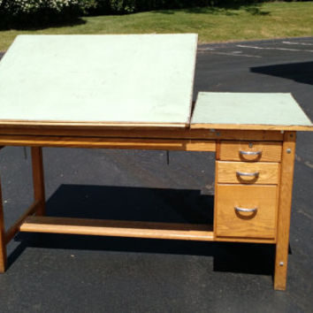 Wooden Split Top Drafting Desk Oak