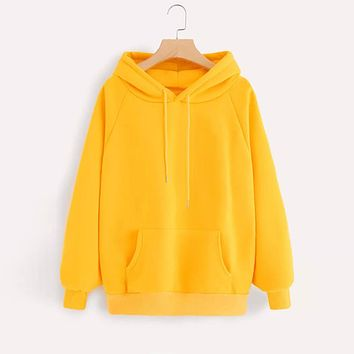 Yellow Hoodies Women Harajuku Sweatshirt Long Sleeve Hoodie Hooded Pullover Tops Blouse With Pocket Fashion Clothes f1