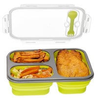 Compartment Food Container with Lid, Bento Lunch Box, Leak Proof, Microwave Safe, Silicone Collapsible Lunch Box