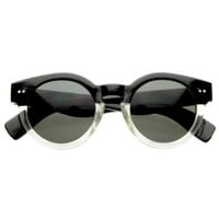 Vintage Inspired Bold Circle Round Sunglasses w/ Key-Hole Bridge: Shoes