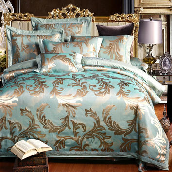 4/6pcs Silk Satin Luxury jacquard Cotton Blend Bedding Set King Queen Size Bedspread Duvet Cover Bed Sheet Bedding Sets