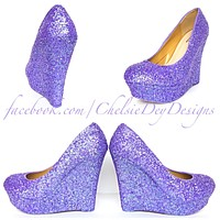 Lilac Wedge Glitter Pumps, Purple Wedding High Heels