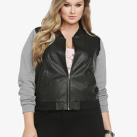 Knit Sleeve Faux Leather Bomber Jacket
