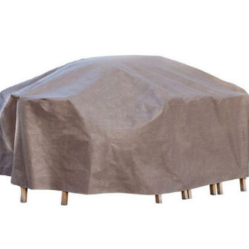109 In. Patio Table and Chair Set Cover with Inflatable Airbag Cappuccino Finish