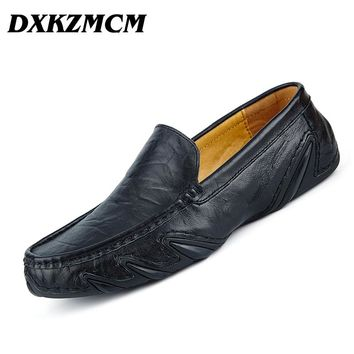 dxkzmcm Men Loafers Genuine Leather Male Platform Shoes Summer Man Flats Weaving Casual Shoes Men's Moccasins