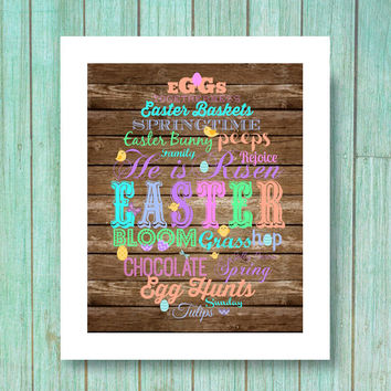 Rustic Easter Decor holiday subway art - pastel art wall art printable 8x10 dowload printable rustic wood eggs typography words
