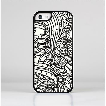 The Black & White Vector Floral Connect Skin-Sert for the Apple iPhone 5c Skin-Sert Case