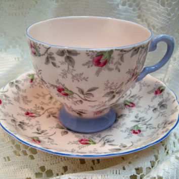 Vintage Tuscan Pink Chintz Bone China England Teacup And Saucer