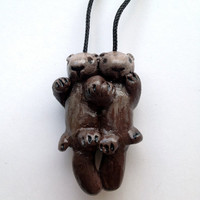 Floating Sea Otter Pendant - Free Standard Worldwide Shipping
