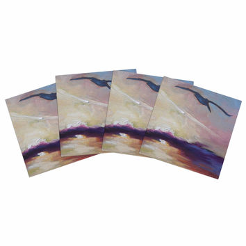 "Carol Schiff ""Sunrise Sortie"" Yellow Multicolor Painting Indoor/Outdoor Place Mat (Set of 4)"