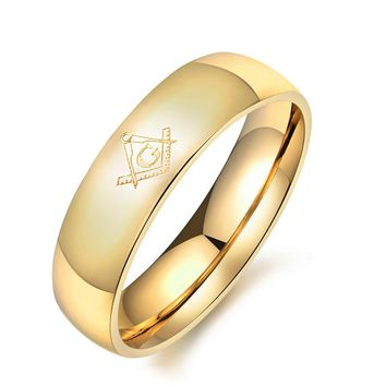6-8mm Freemasons Ring Masonic Rings For Men Women Gold Silver Black 316L Stainless Steel Charms Freemasonry fashion Jewelry
