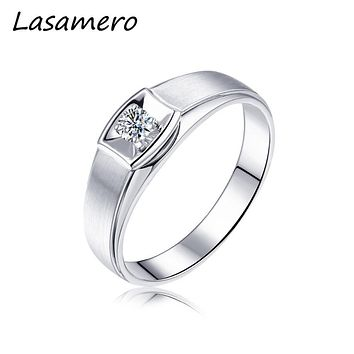 LASAMERO Rings for Men 0.086CT Round Cut Natural Diamond Ring 18k two tone Gold Engagement Wedding Ring