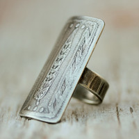 Tribal Statement BOLD Rectangular Ring - Hand Textured Oxidized and Etched German Silver Ring - Roots - Bohemian - Beachcomber Collection