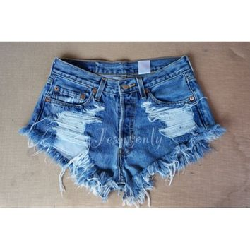 Hipster Grunge clothing Levi's High waisted denim shorts distressed