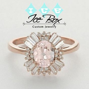 Gatsby Inspired - Morganite 1.75ct, 7 x 9mm Oval Morganite in a 14k Rose Gold Diamond Halo