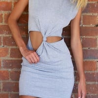 Gray Cut Out Sleeveless Mini Dress