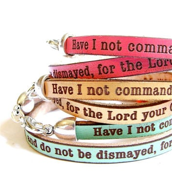 Be Strong and Courageous... Joshua 1:9 Daily Reminder Leather wrap bracelet