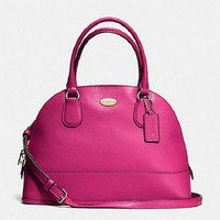 New COACH F33909 Leather CORA Dome Satchel Handbag Purse Shoulde Bag Pink Ruby