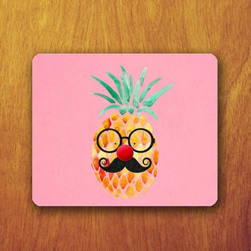 Funny Pineapple Cartoon Mouse Pad Pink Wallpaper Cute Cartoon Clown Big red Nose Office Deco Desk Pad Personalized Custom Gift for Friend