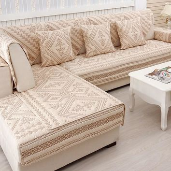 Classy Contemporary European Style Plush Cotton Sectional Sofa Covers