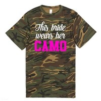 This Bride Wears Her Camo-Unisex Green T-Shirt