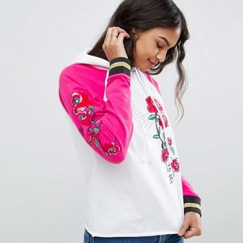 ASOS Hoodie With Embroidery And Tipping at asos.com