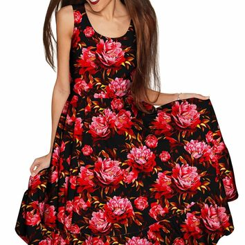 True Passion Vizcaya Black & Red Floral Party Dress - Women