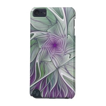 Flower Dream, Abstract Purple Green Fractal Art iPod Touch (5th Generation) Case