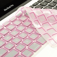 TopCase Silicone Keyboard Cover Skin for Macbook Unibody Whtie 13-Inch / Macbook Pro Aluminum Unibody 13, 15, 17-Inch with or without Retina Display / Macbook Air 13-Inch / Old Macbook White 13-Inch / Wireless Keyboard with TopCase Mouse Pad (PINK)