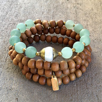 Sandalwood and Matte Aventurine 108 Mala Necklace/ Bracelet with A Tibetan Pearl Guru Bead