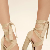 Dorian Natural Suede Lace-Up Platform Heels