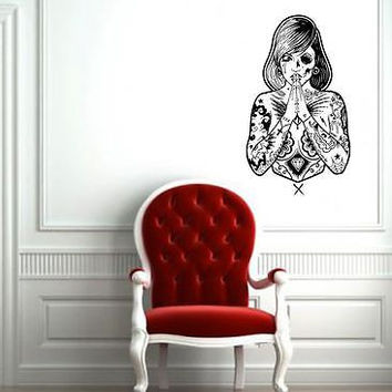 WALL ART STICKER VINYL DECAL MURAL GIRL TATTOO PAINTING FEAR DA2303