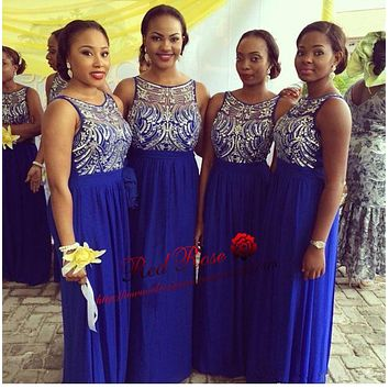 Royal Blue Bridesmaid Dress with Sequins and Beads Long Chiffon Bridesmaid Dress Robe de Demoiselle D'honneur Adulte