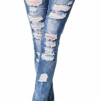 Women's Cutout Distressed Medium Wash Skinny Jeans