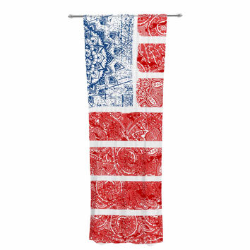 "Victoria Krupp ""Americana Mandala Flag"" Red Holiday Decorative Sheer Curtain"