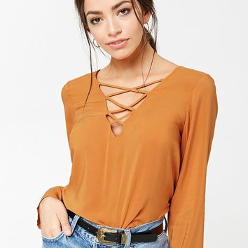 Crisscross V-Neck Top