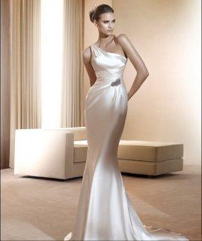 Special Design Charmeuse Fashion One shoulder with Slim Sheath Skirt 2012 Fashion Simple Bridal Wedding Dress