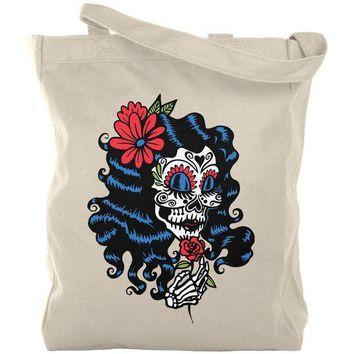 PEAPGQ9 Halloween Day of the Dead Woman Skeleton Canvas Tote Bag