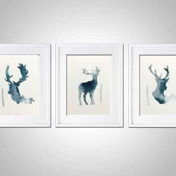 Deer Set of 3 Watercolor Painting, Teal Room Decor, Antlers Silhouette Animal Illustration, Deer Head Poster Blue Wall Decor