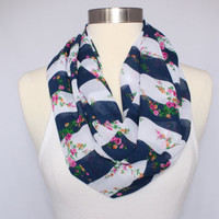 Lightweight Infinity Scarf - Navy and White Striped Floral