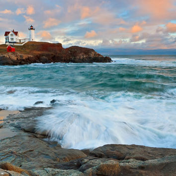 Nubble Lighthouse Art, Metal Photo Print, Maine Photography, Coastal Beach Decor, Large Metal Wall Art, Aluminum Print, Teal Blue Pink Peach