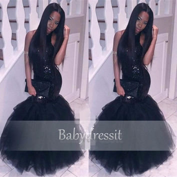 Elegant Black African Prom Dress Halter Sleeveless Sequined Tulle Floor Length Custom Made Long Black Girl Mermaid Prom Dresses