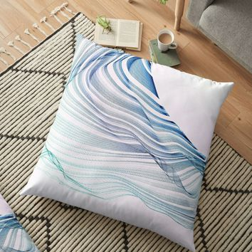 'Etherial Wave - Blue, mint and pale pink on white' Floor Pillow by Dominiquevari