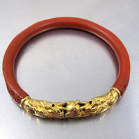 Antique Gold Dragon Cinnabar Bangle Bracelet, Chinese Cloisonne Enamel Gold Dragons Chasing Pearl Carved Cinnabar, Chinese Export Jewelry